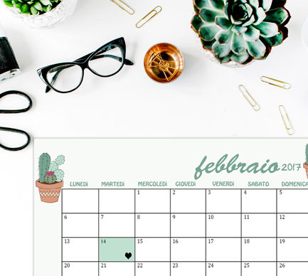Calendario Febbraio 2017 sfondi desktop iphone succulent cactus flat lay