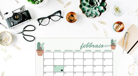 SCARICA IL CALENDARIO DI FEBBRAIO 2017 E GLI SFONDI IPHONE, IPAD E DESKTOP A TEMA CACTUS