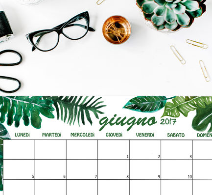 Calendario Giugno 2017 Free printable Monstera urban jungle