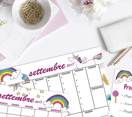 Kit grafico settembre 2017 unicorni