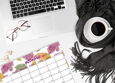 Calendario ottobre 2017 foliage free printable freebie