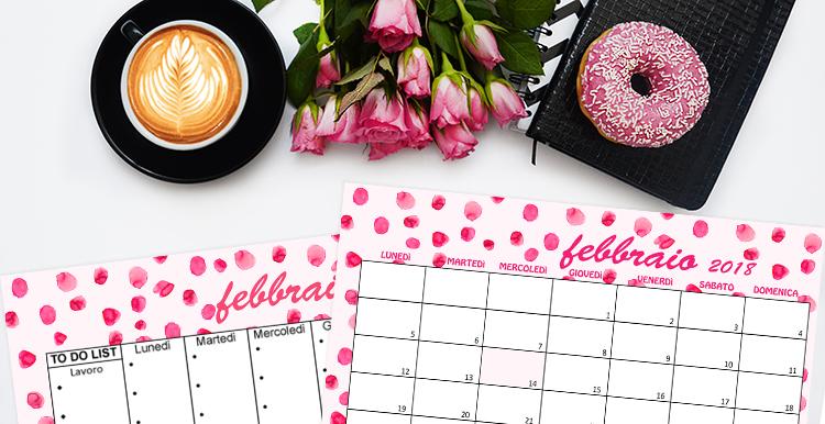 calendario sfondo desktop iPhone febbraio 2018 stylenotes