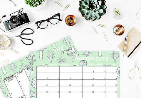 Calendario sfondi desktop iPhone marzo cactus