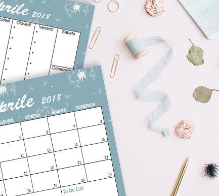 Calendario sfondi aprile 2018 free printable freebies
