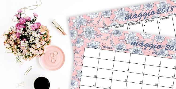 Calendario Planner E Sfondi Di Maggio Fiori Coral Navy