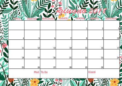 Calendario Giugno 2018 tropical green